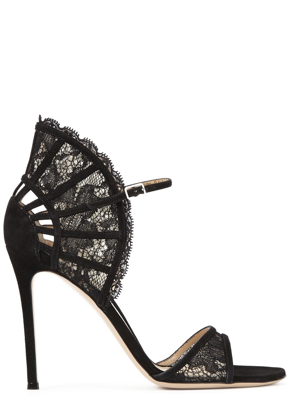 Black Rossi Fan Embellished Gianvito Lace Sandals BorxeWdC