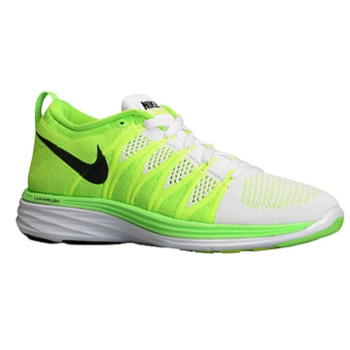 Nike Flyknit Lunar 2 - Women's - Running - Shoes - White/Electric Green/Volt