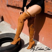 shoes,heels,knee high boots,brown,brown high heels,boots opentoe brown,sexy,iloveit