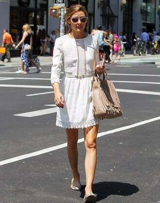 olivia palermo dress sunglasses bag lace lace dress white dress fringed bag