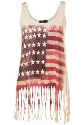 Cream washed american flag fringe vest