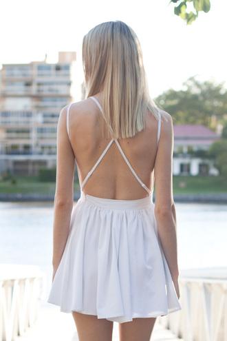 cross back dress white backless skater dress cute shopfashionavenue paper heart