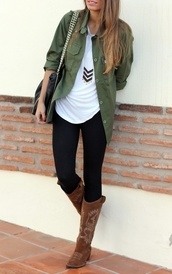 coat,shirt,clothes,green,pants,top,military style,blouse,jewels,cute,fall outfits,fashion,outfit,blogger,jacket,bag,khaki,camo jacket,jeans,shoes,boots,chevron,black,statement,gold,perfect,army green jacket,necklace,army green,dark green,pale green,forest green,black jeans,black skinny jeans,yoga pants,leggings,cowboy boots,cowgirl boots,brown boots,tribal necklace,tote bag,pose,green button up blouse,dress shirt,casual,casual shirt,green dress shirt,button up shirt,button up dress shirt,tall,skinny,ootd,over top,green shirt,green blouse,pale green shirt,barf green,bricks,studs,pattern,teenagers,girl,women,darker green jacket,button down,pockets,cardigan,green jacket,t-shirt,comfy,tshirt.,olive green