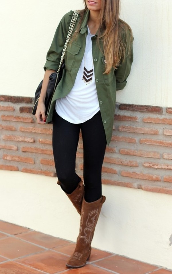 coat shirt clothes green pants top military style blouse jewels cute fall outfits fashion outfit blogger jacket bag khaki camo jacket jeans shoes boots chevron black statement gold perfect army green jacket necklace army green jacket army green dark green pale green forest green black jeans black skinny jeans yoga pants leggings cowboy boots cowgirl boots brown boots tribal necklace tote bag pose green button up blouse dress shirt casual casual shirt green dress shirt button up shirt button up dress shirt tall skinny ootd over top green shirt green blouse pale green shirt barf green bricks studs pattern teenagers girl women teenagers darker green jacket button down pockets cardigan green jacket top shirt t-shirt comfy tshirt. army green jacket olive green army green jacket brown cowboy boots
