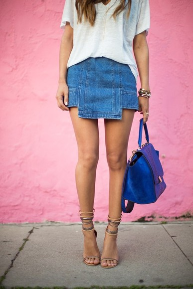 nude sandals shoes skirt shirt denim denim skirt