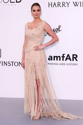 dress,gown,amfar,nude,nude dress,kate upton,prom dress,sandals,fringes,shoes,cannes