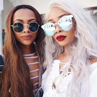 sunglasses nastygal shades sunnies circle cats uv reflective quay black wire mirrored sunglasses