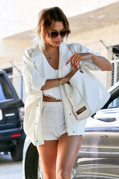 jacket white jacket white vanessa hudgens boho bag top