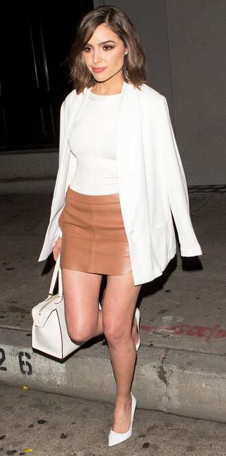skirt top mini skirt blazer pumps purse spring outfits olivia culpo