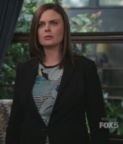 top,stripes,floral,blazer,black,dr. temperance brennan,emily deschanel,bones tv show