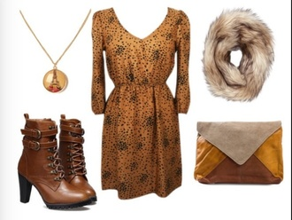 boots brown leather boots brown boots dress scarf jewelry heels fur clutch fur scarf