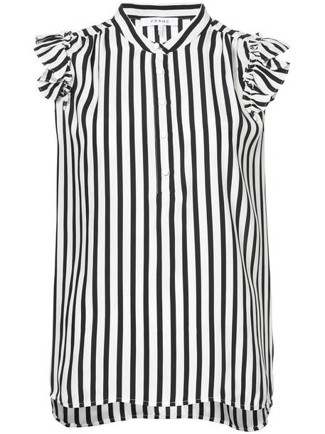 shirt striped shirt women black silk top
