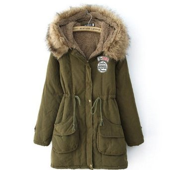 Amazon.com: Promithi Womens Winter Hooded Fur Collar Thick Padded Long Coat Outerwear Jacket: Clothing