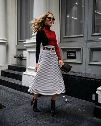 the classy cubicle blogger top skirt belt sunglasses bag shoes ankle boots handbag midi skirt fall outfits