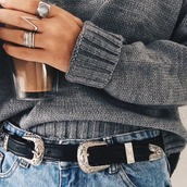 sweater,jewels,ring,jewelry,silver ring,belt,black,double buckle belt,waist belt,western belt,silver,silver buckle,black belt,accessories,Accessory,style,trendy