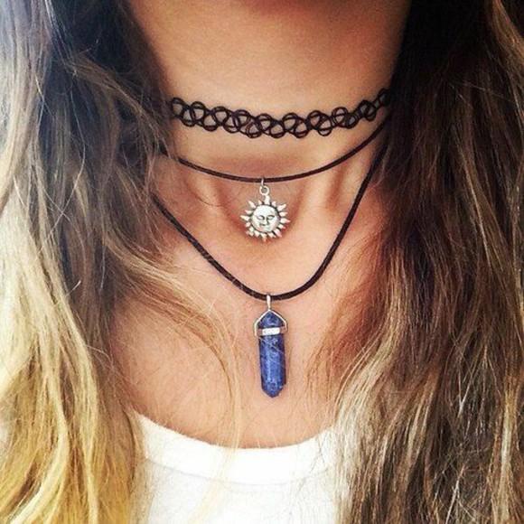 jewels sun necklace choker necklace sun pendant 90s choker 90s choker necklace stone stone pendant pendant stone necklace