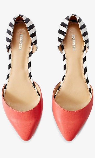 shoes flats coral striped shoes stripes