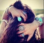 jewels,ring,set bracelets,bracelets,lapis lazuli,lapis jewelry,boho,bohemian,light blue,blue,medallion,grunge,soft grunge,california,sunflower,bikini,ocean,hippie