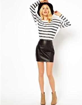 ASOS Mini Skirt in Leather Look at ASOS