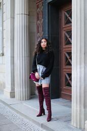 samieze,blogger,sweater,skirt,shoes,bag,velvet boots,thigh high boots,mini skirt,burgundy bag,fall outfits