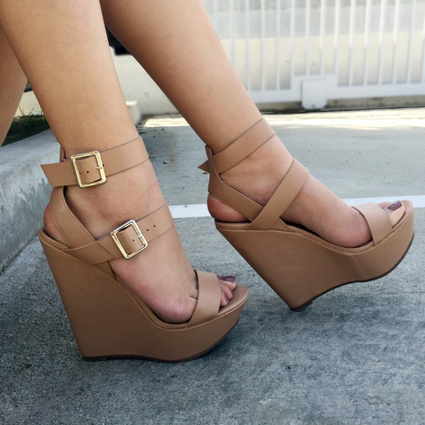 c1d7d194c8e Natural Faux Leather Double Ankle Strap Wedges   Cicihot Wedges ...