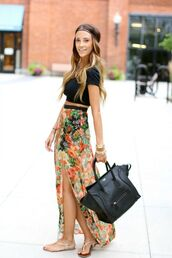 skirt,clothes,shirt,dress,flower maxi skirt,maxi skirt,floral,bag,maxi,flowers,multicolor,hipster,tribal pattern,aztec,turquoise,colourful skirt,floral prints,cute skirt,hi low skirt,crop tops,headband,hippe chic,black crop top,black handbag,leather purse,white sandals,top,jewels,floral skirt,girl,high waisted,boho,bohemian,floral maxi skirt,colorful,summer,cool,beach,pretty,summer outfits,summer outift,maxi dress,long boho skirt,gir,style,fashion,slit