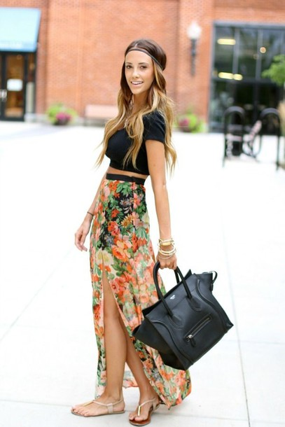 skirt clothes shirt dress flower maxi skirt maxi skirt floral maxi flowers multicolor hipster tribal pattern aztec turquoise colourful skirt black crop top black handbag leather purse white sandals top jewels floral maxi skirt colorful summer cool beach pretty summer outfits summer outift maxi dress dress girl black crop top long boho skirt bag gir style fashion slit