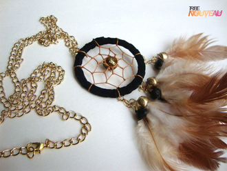 jewels dreamcatcher feathers gold black brown necklace