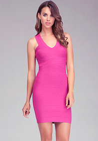 bebe | Mesh V Neck Dress - View All