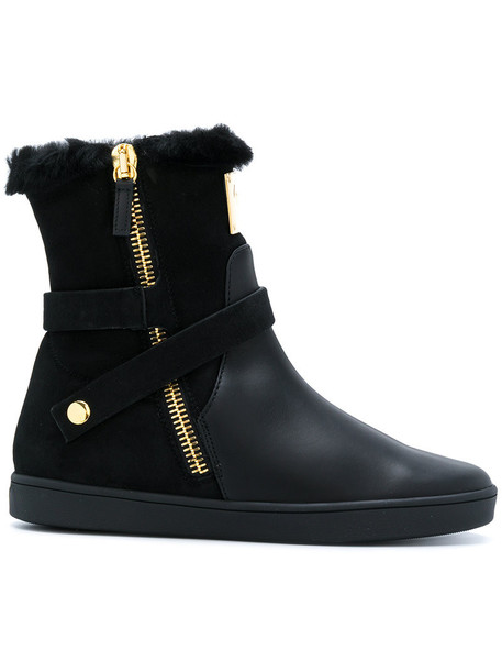GIUSEPPE ZANOTTI DESIGN fur fox women leather black shoes