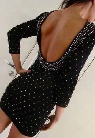 backless dress dress black black dress short dress diamonds quarter sleeve dress