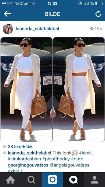 kim kardashian nude coat camel jacket bag shoes