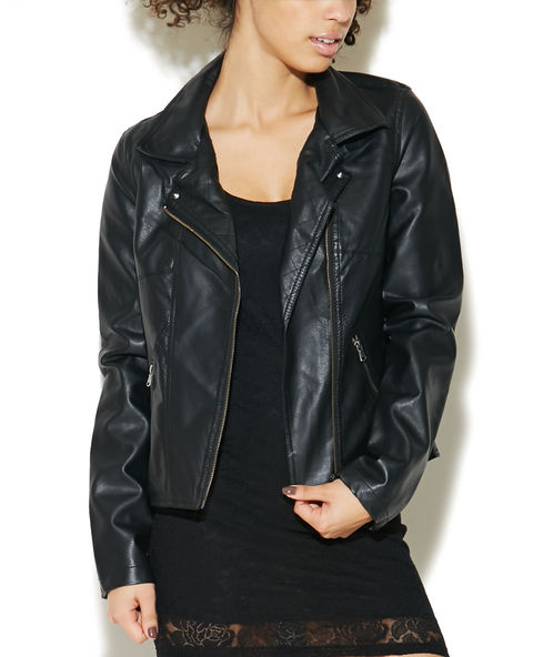 Quilted Sleeve Moto Jacket | Wet Seal