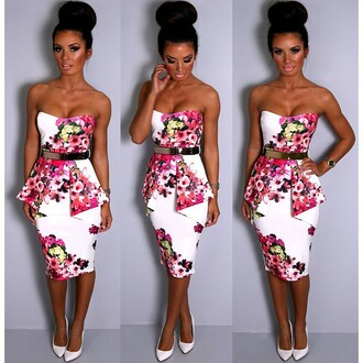 dress pink boutique floral multicolor peplum peplum dress