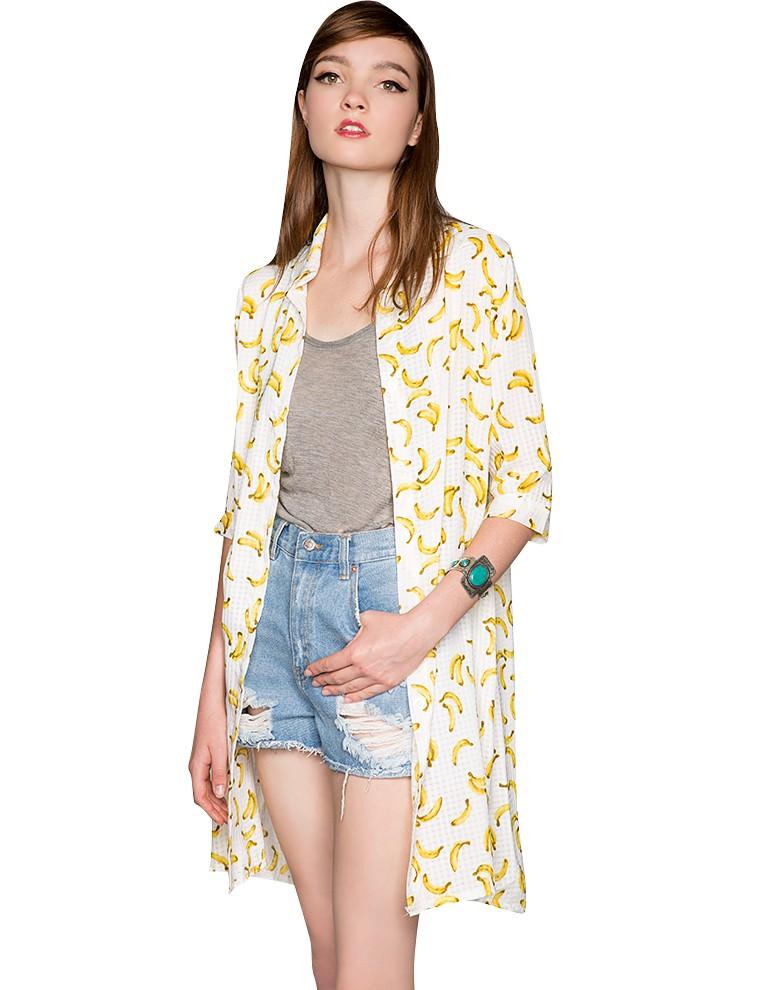 Banana Print Cardigan Banana Chiffon Shirt Dress 29