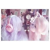 hair accessory,wig,harajuku,harajuku hair,pastel pink,japanese fashion,kawaii,headphones