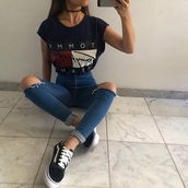 t-shirt,tommy hilfiger,tommy hilfiger crop top,shirt,jeans,ripped jeans,blue jeans,black t - shirt,girl,clothes,shoes,black and white,sneakers,black,tommy hilfiger shirt,blouse,pants,belt,red,navy,pretty,urban outfitters,top,white,flag,cute,wheretogetit???,wheretoget??
