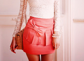 skirt,dress,lace,bow,peplum,white lace,clothes,shirt,pink skirt,pink bow skirt,bow skirt,pink,pink skirt with bow,celebrity,shorts,jewels,bag,blouse,cute,ruffle,short skirt,peach skirt,ruffle skirt,skirt with bow front,pleated skirt,summer,cute pink short pencil skirt tight bow pearls,dentelle,noeud,high waisted skirt,tumblr outfit,coral