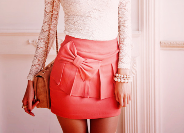 skirt dress lace bow peplum white lace clothes shirt pink skirt pink bow skirt bow skirt pink pink skirt with bow celebrity shorts jewels bag blouse cute ruffle short skirt peach skirt ruffle skirt skirt with bow front pleated skirt summer cute pink short pencil skirt tight bow pearls dentelle noeud high waisted skirt tumblr outfit coral