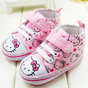 shoes,hello kitty,pink,heart,sneakers,baby,kids fashion,kids shoes