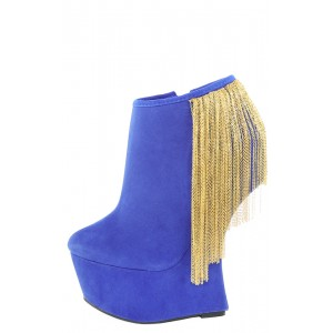 Privileged Moks Royal Blue Metal Fringe Hidden Platform Wedge Booties and Shop Boots at MakeMeChic.com
