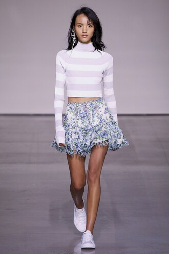 top stripes striped top turtleneck mini skirt mini crop tops nyfw 2017 ny fashion week 2017 runway spring outfits zimmermann