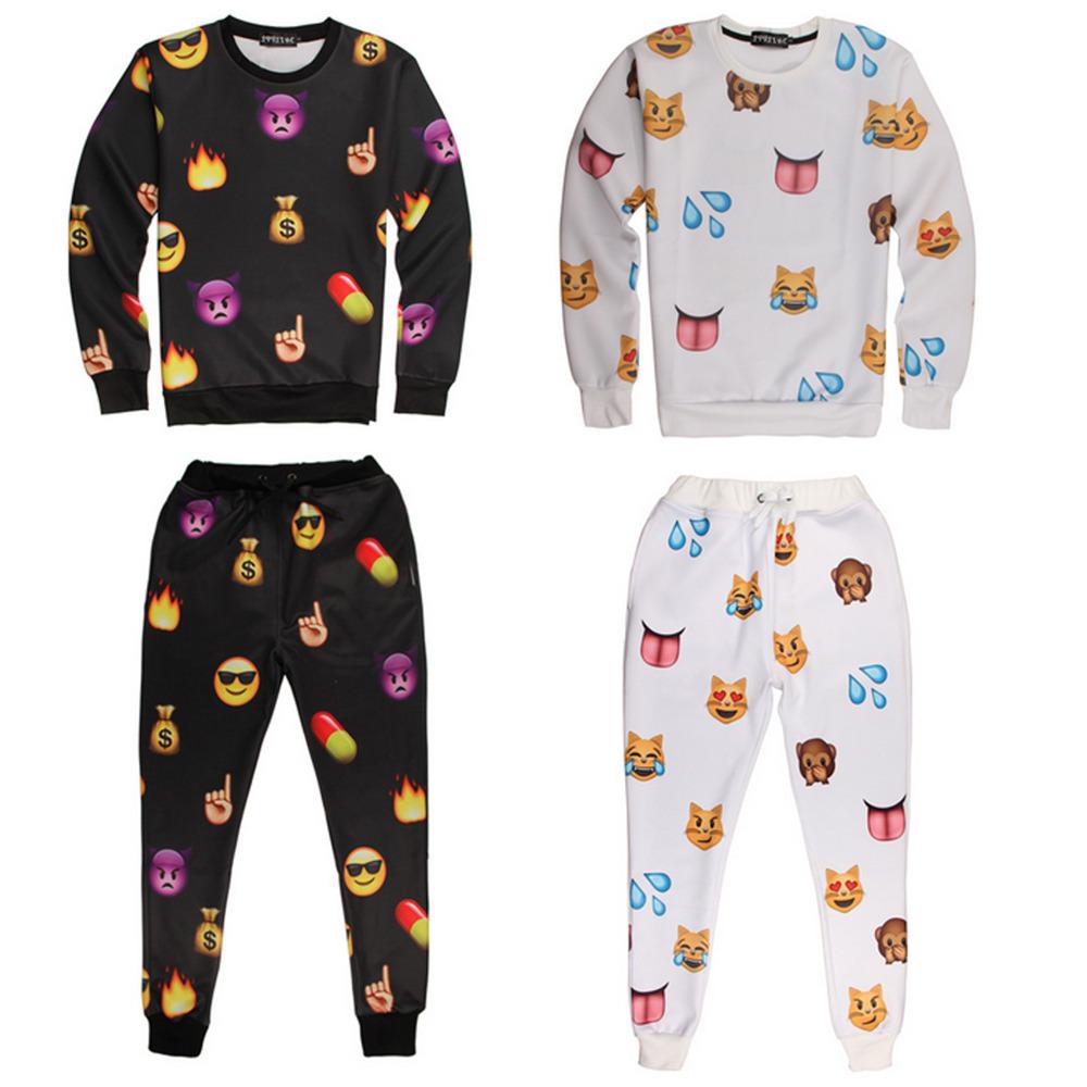Men Emoji Jogger Casual Sweatshirt Pullover Emoji Joggers ...