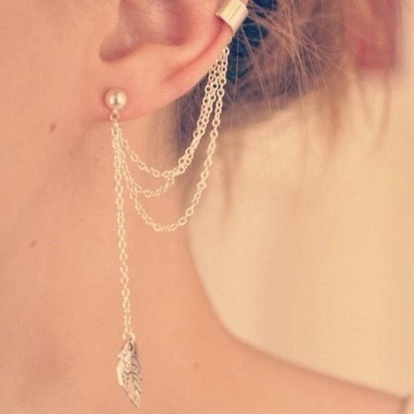 jewels piercing earrings chain chain earring ear piercings ear chain ear ear chain gold ear cuff wings