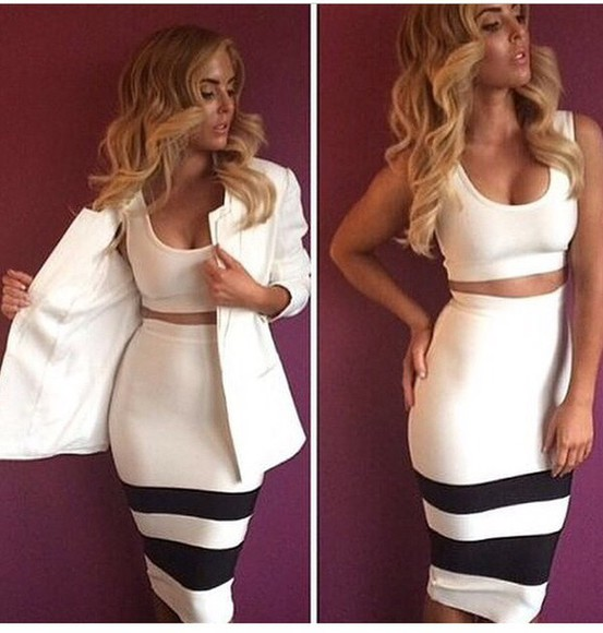 dress bandage dress white dress two pieces set skirt crop tops top jacket