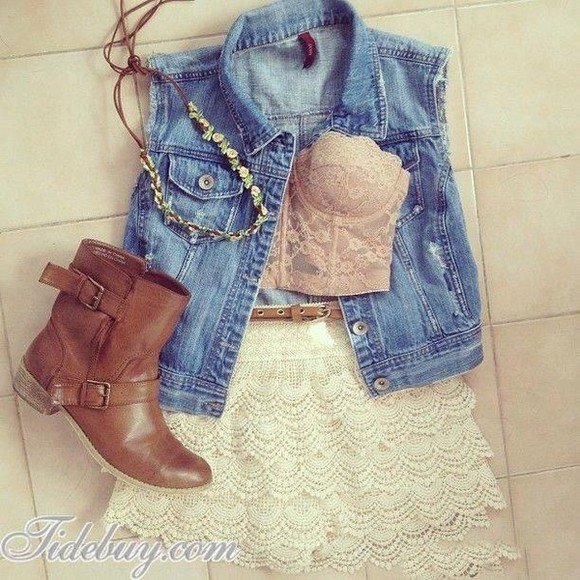 girly hipster denim vest blouse lace bandeau pale jacket shirt outfit boots crop tops shoes skirt jewels denim shorts