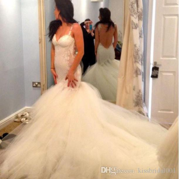 Discount Sexy Backless 2015 Wedding Dresses Lace Applique Mermaid Berta Bridal Gowns Court Train Tulle Luxury 2014 Wedding Gowns New Fashion Online with $166.13/Piece | DHgate