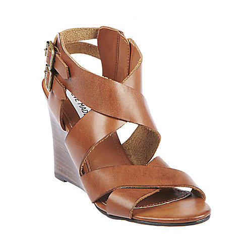 Cityline cognac leather women's sandal mid strappy