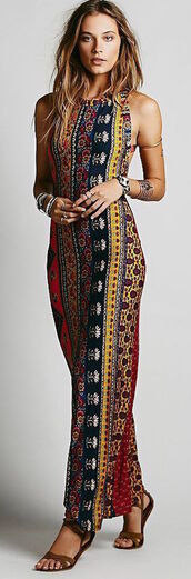 dress,pattern,colorful,long,maxi,halter neck,tight,boho dress,long dress,maxi dress,patterned dress,bohemian dress,bohemian,aztec dress,floor length dress,strappy dress,summer,summer dress,prom,tribal dress,gold arm bands,figure flattering,flowers,prom dress,color/pattern,blue dress,yellow dress,multicolor,vintage,90s style,hippie