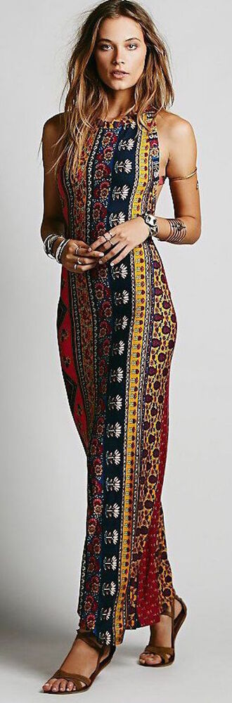 dress pattern colorful long maxi halter neck tight boho dress aztec dress floor length dress strappy dress summer summer dress prom tribal dress gold arm bands figure flattering flowers prom dress long dress color/pattern maxi dress blue dress yellow dress patterned dress multicolor vintage 90s style hippie
